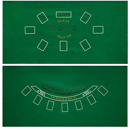 GSE Games & Sports Expert 36x72-Inch Blackjack/Craps/Roulette/Texas Holdem/Baccarat Casino Table Top Felt Layout Mat (Texas Holdem & Blackjack)