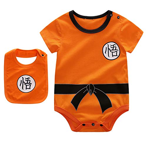 Beal Shopping Baby Infant Baby Girls Boy Bodysuit Romper Goku Modeling Short Sleeve Triangle Cotton Jumpsuit+Bibs, Orange, 9-12 Months -