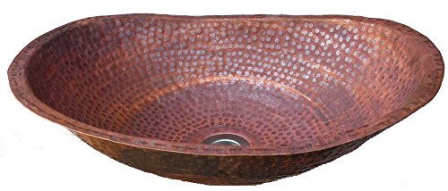 Vessel Oval Shape Fire Burnt Patina Hand Forged Copper Bathroom Sink Toilet Lavatory Basin by Egypt gift (Patina Hand Forged)
