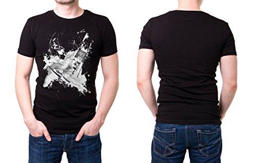 Ski_Alpin_III schwarzes modernes Herren T-Shirt mit stylischen Aufdruck
