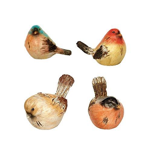 Napco Watchful Birds Orange Hues 4.25 x 3 Resin Miniature Garden Figurines, Set of 4 (Resin Figurines Bird)