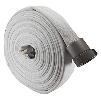 """2/"""" x 50/' White Mill Discharge Hose with Aluminum M x F NPSH Couplings"""