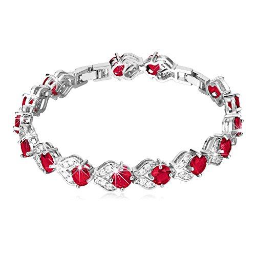 U7 Hot Fashion Ruby Crystal Bracelet Platinun Plated Link Red Cubic Zirconia CZ Tennis Bracelet