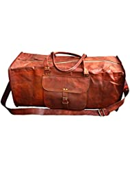 24 Genuine Leather Mens Duffel Gym Sports Travel Weekend Carry on Luggage Bag
