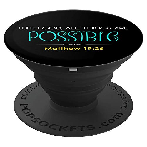 Scripture Bible Verse Matthew 19:26 Christian Faith T-Shirts - PopSockets Grip and Stand for Phones and Tablets