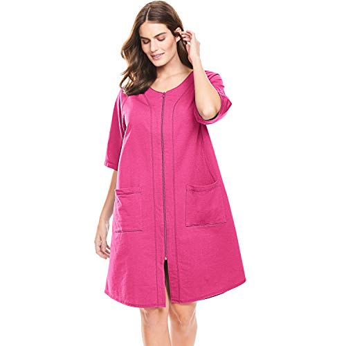 Dreams & Co. Women's Plus Size Short Sleeve French Terry Robe - Raspberry Sorbet, - Cloth Ladies Terry