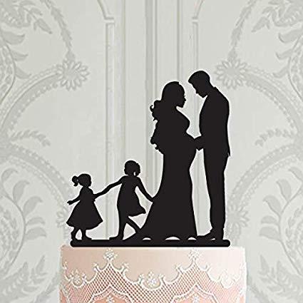 SUNsing Décoration pour gateau de mariage avec enfants, 2 filles, 2 gar?ons, décoration de gateau, décoration de gateau, décoration de mariée enceinte 858689