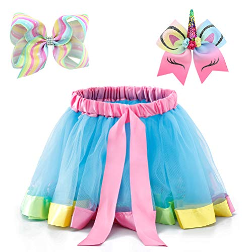 Moon Kitty Little Girls Layered Ballet Tulle Tutu Skirts Rainbow Dress Up with Colorful Hair -