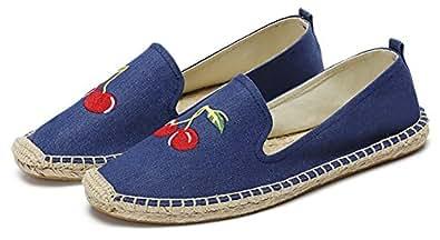 qzunique Women's Qz Canvas Slip-On Shoes Loafers Casual Sneakers Flats 8 B(M) US Cherry