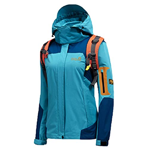 - KinYanilsn Outdoor Two Piece Set Winter Thicken Sports Snowboard Climbing Trekking Jackets Women Moon Blue XXXL