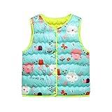 Toddler Kids Baby Girls Boys Waistcoat Autumn Winter Sleeveless Print Cartoon Warm Jacket Top Vest Green