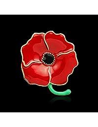 MorningGo Remembrance Day Red Flower Poppy Brooch Pin Brooch Badge
