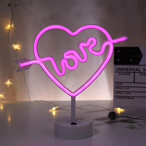 Cupid's Bow Shape Neon Light Sign LED Love in Heart Neon Night Light Pink Neon Letter Sign Marquee Battery USB Operated Table LED Lights for Christmas Birthday Wedding Party Kids Room Living Room ...