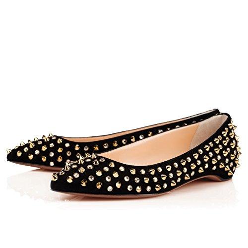 Arc-en-Ciel zapatos de ante de las mujeres tachonadas en punta plana Negro