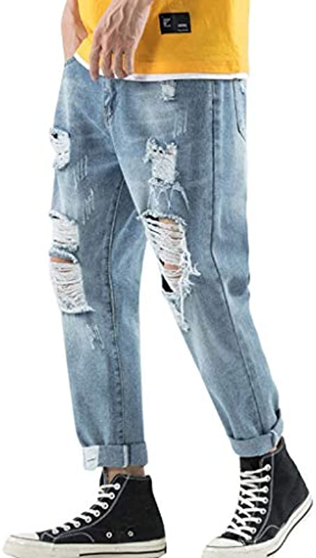 Męskie spodnie rekreacyjne, szerokie spodnie jeansowe z szerokimi nogawkami z prostej dżinsowej bawełny solidne długie spodnie - 30: Spielzeug