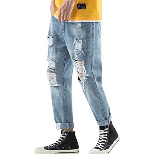 VEZAD Comfort Stretch Straight Jean Men's Loose Denim Cotton Hole Distressed Jeans Long Pants