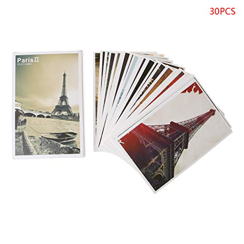 RingBuu Postcards - 30 Sheets Eiffel Tower Paintings Retro Vintage Postcard Christmas Gift Card Wish Poster Cards