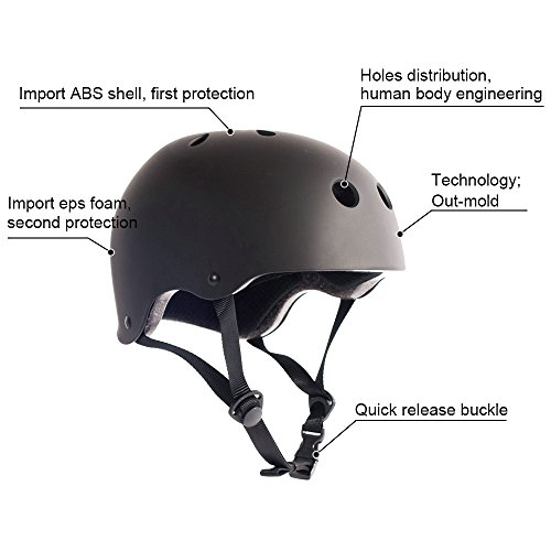 Adult Skateboard Helmet 11-Vents Adjustable Straps Protective Skiing Skate Bike Cycling Helmet Multi Color with Liner for Bicycle Skateboard Outdoor Sports Size Large Black