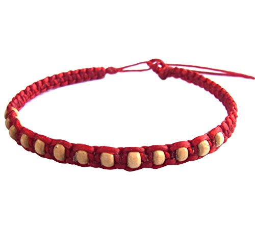Thai Buddha Fashion Art Handmade Bracelet Red Wax String White Wood Beads Wristband Thailand