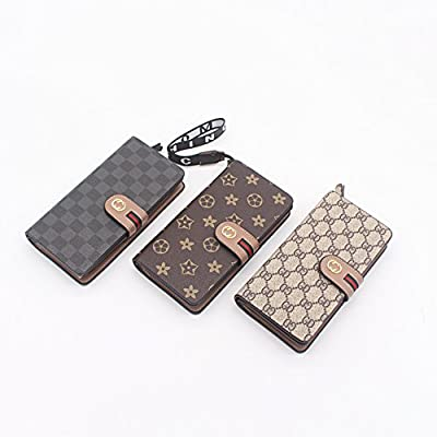 Vicue designer large cute card organizer billfold wallet phone holder with strap