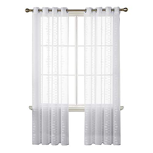 Deconovo White Sheer Curtains Grommet Diamond Pattern Jacquard Sheer Curtains for Bedroom 52X84 Inch Off White 2 Panels