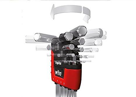 Klemmringfunktion MagicRing/® f/ür das Halten von Schrauben ohne Magnet 9-tlg Wiha Stiftschl/üssel Set im ErgoStar Halter zum Auffechern der einzelnen Schl/üssel Sechskant-Kugelkopf schwenkbar f/ür schwer zug/ängliche Bereiche ma