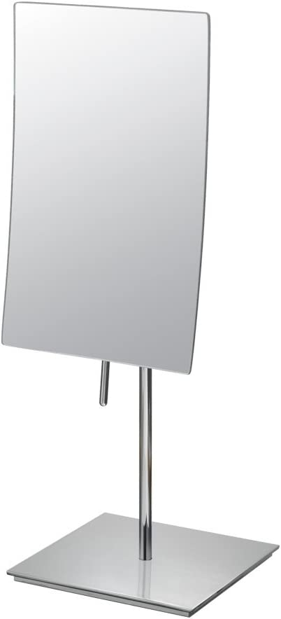 Mirror Image 82243 Minimalist Rectangular Vanity Mirror, 3X Magnification, Chrome