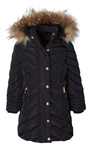 Sportoli Girls Long Fleece Lined Heavy Quilt Puffer Coat Deteachable Fur Trimmed Hood