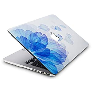 KEC MacBook Pro Retina 13 Inch Case (2015 old gen.) Plastic Hard Shell Cover A1502 / A1425 (Blue Flower)