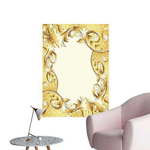 Wall Stickers for Living Room Illustration of a Frame with Ornaments and Pearls Baroque Style Floral Patterns Cream Vinyl Wall Stickers Print,20