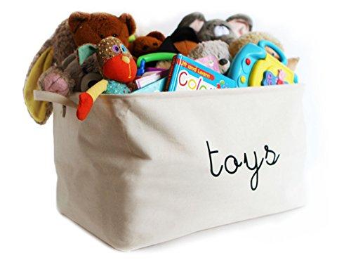 Toy Storage Baskets by Kangaroo Walk • Collapsible Cotton Canvas Storage Bins for Toys • Organize with Elegance • (Seashell White, 'Toys' Design, (Kangaroos Canvas)
