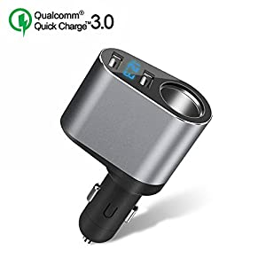 Quick Charge 3.0 Car Charger, Dual USB Car Charger Adapter with Voltage Display, Cigarette Lighter Socket for iPhone,iPad,Smart Phone,Andriod,Samsung,Dash Cam,GPS (12V-24V)