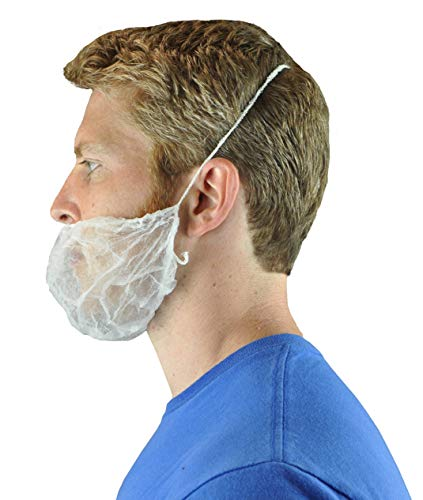 Disposable Beard Nets Spun-Bonded Polypropylene 100 Pack, White (Hair Net Mask)