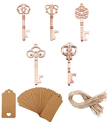 (25 PCS Assorted Vintage Skeleton Key Bottle Opener Party Favor,Skeleton Key Bottle Openers Wedding Favors Antique Rustic Decoration with Kraft Paper Card and Twine (5 Style Rose Gold) (25))
