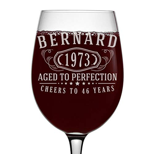 Personalized Aged to Perfection 75th Birthday Wine Glass