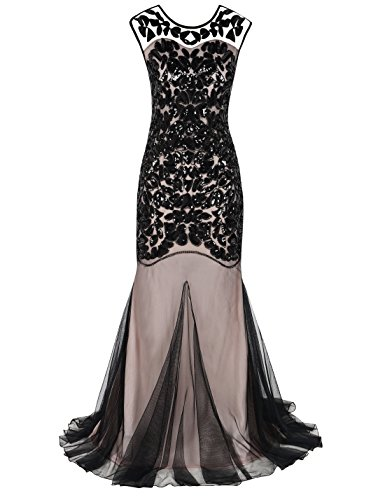 PrettyGuide Women's 1920s Ball Gown Art Deco Flapper Formal Mermaid Homecoming Dress L Black beige
