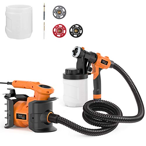 Paint Sprayer, Tacklife SGP16AC Electric Paint Spray Gun, 800W Power with 3 Copper Nozzle Sizes, 2 PCS 1200ml Detachable Containers, Easy-Used for Painting Projects