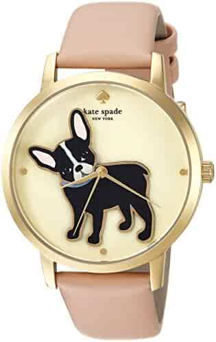 kate spade new york Women's 'Grand Metro' Quartz Stainless Steel and Leather Casual Watch, Color:Beige (Model: KSW1345)
