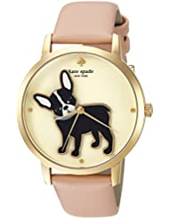 kate spade new york Womens Grand Metro Quartz Stainless Steel and Leather Casual Watch, Color:Beige (Model:...