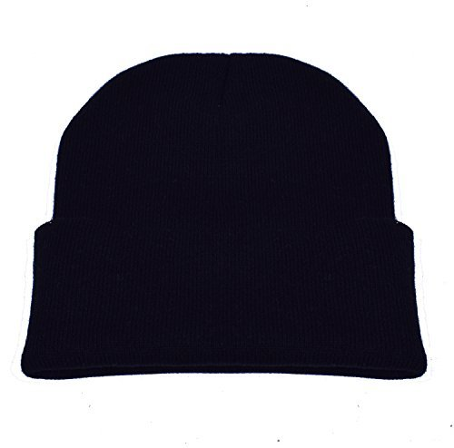 Black Basic Knit Beanie - PZLE Black Beanie Black Skull Cap Knit Beanie Black Beanie Slouch Hats Black,One Size
