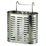 Stainless Steel Utensil Holder Rust-Proof Kitchen Tool Organizer Perfect Diameter and Height Cutlery Caddy 2 Compartments (Hanger)