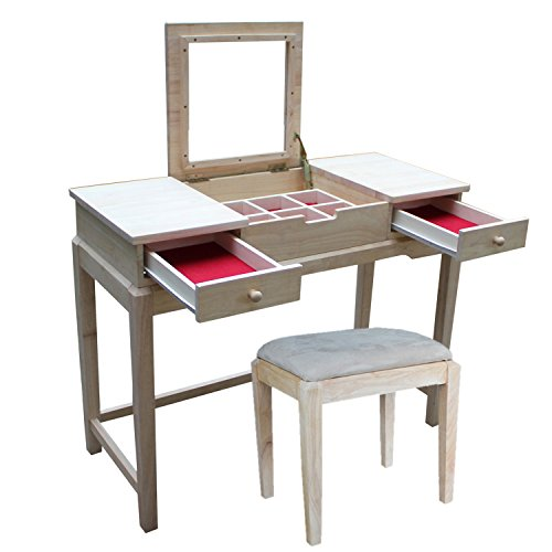 - International Concepts Vanity Table with Bench, Unfinished