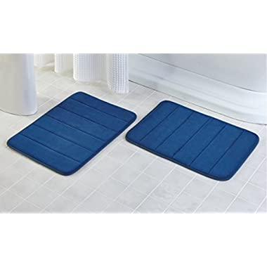 2 Pack - 17 x 24  Microfiber Memory Foam Bath Mat with Anti-Skid Bottom (Navy Blue)