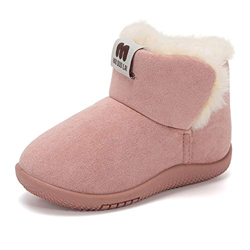 Baby Girls Boots Size 6 Casual Pink Round Toe Suede Anti-Slip Sole Fur Lined Winter Outdoor Indoor Toddler Comfortable Walking Snow Shoes