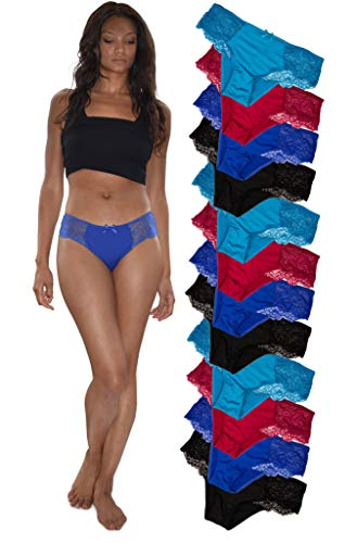 - Sexy Basics Womens 12 Pack Hipster Lace Underwear/Silky Soft & Stretch Spandex Hipster Cheeky Panties (12 Pack -Black/Green/Burgandy/Blue, Medium)