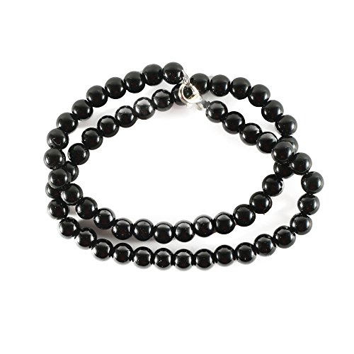 Red Cube Women Black Vintage Classic Pressed Agate Beaded Thread Necklace Beads Jewelry (Black) (Necklace Vintage Plastic)
