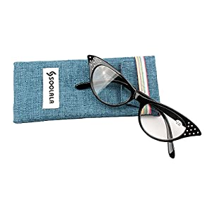SOOLALA Womens Fashion Designer Rhinestone Cat Eye Magnifying Reading Glasses (Black, 1.25)