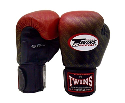 Twins Special Muay Thai Boxing Gloves BGVLA 2 Air Flow Gloves. Univesal Gloves for Training or Sparring. (TW1 Black-Red, 16 oz)