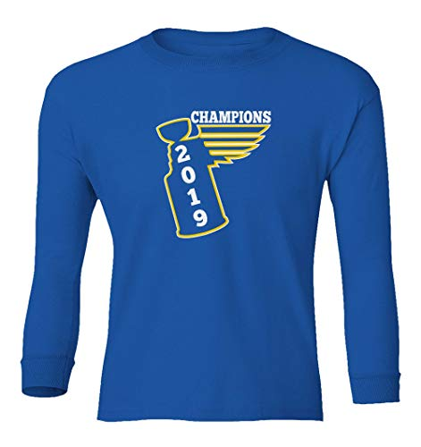 TURXIN Blues Hockey Stanley Cup Champions 2019 Boys Girls Youth Long Sleeve T-Shirt (Royal, Youth Medium) ()