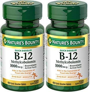 Natures Bounty Methylcobalamin B12 Microlozenge Tablets, 1000 mcg, 120 Count (2 X 60 Count Bottles)